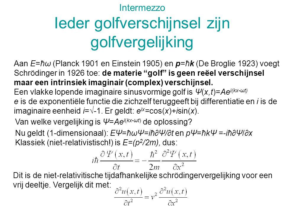 Intermezzo Ieder golfverschijnsel zijn golfvergelijking Aan E=ħω (Planck 1901 en Einstein 1905) en p=ħk (De Broglie 1923) voegt Schrödinger in 1926 toe: de materie golf is geen reëel verschijnsel maar een intrinsiek imaginair (complex) verschijnsel.