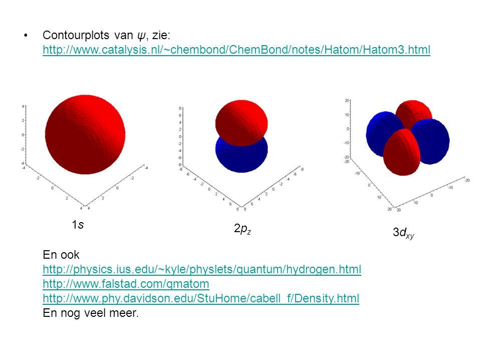 En ook http://physics.ius.edu/~kyle/physlets/quantum/hydrogen.html http://www.falstad.com/qmatom http://www.phy.davidson.edu/StuHome/cabell_f/Density.html En nog veel meer.