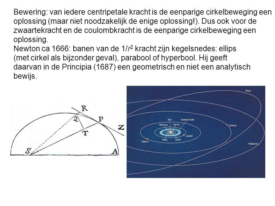 Bewering: van iedere centripetale kracht is de eenparige cirkelbeweging een oplossing (maar niet noodzakelijk de enige oplossing!). Dus ook voor de zw