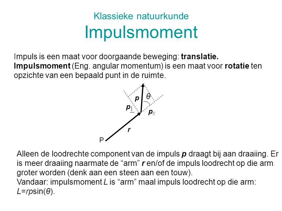 Klassieke natuurkunde Impulsmoment Impuls is een maat voor doorgaande beweging: translatie. Impulsmoment (Eng. angular momentum) is een maat voor rota