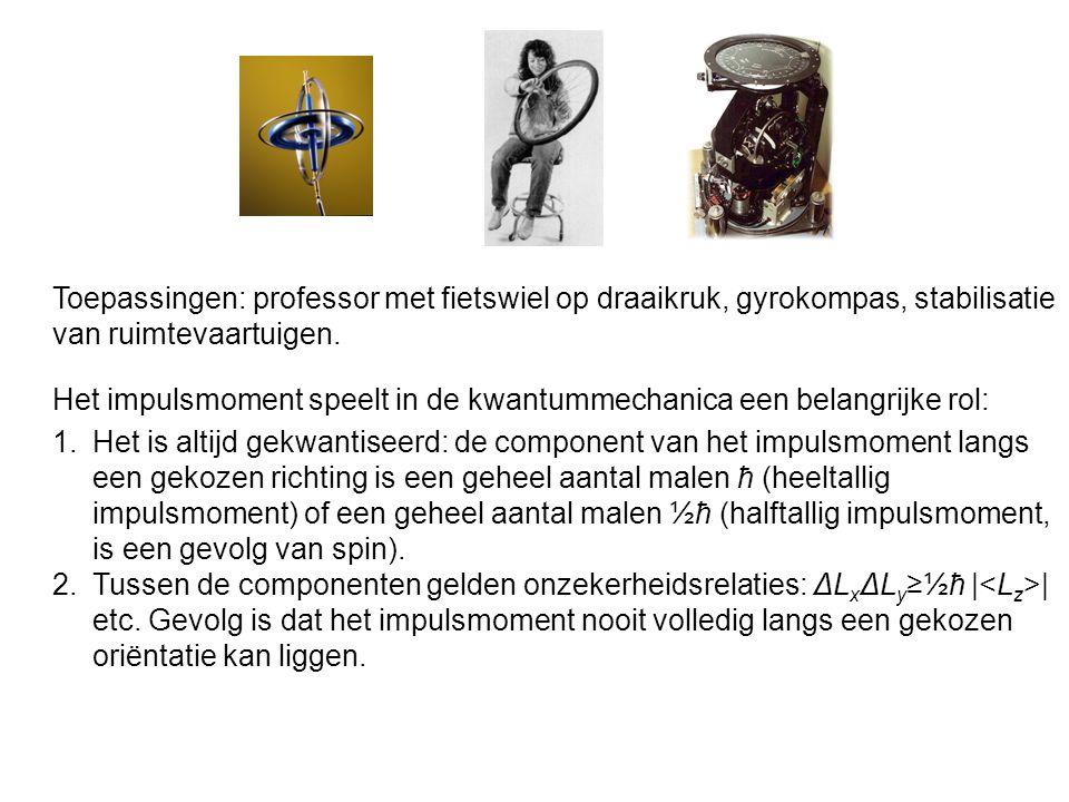 Toepassingen: professor met fietswiel op draaikruk, gyrokompas, stabilisatie van ruimtevaartuigen. 1.Het is altijd gekwantiseerd: de component van het