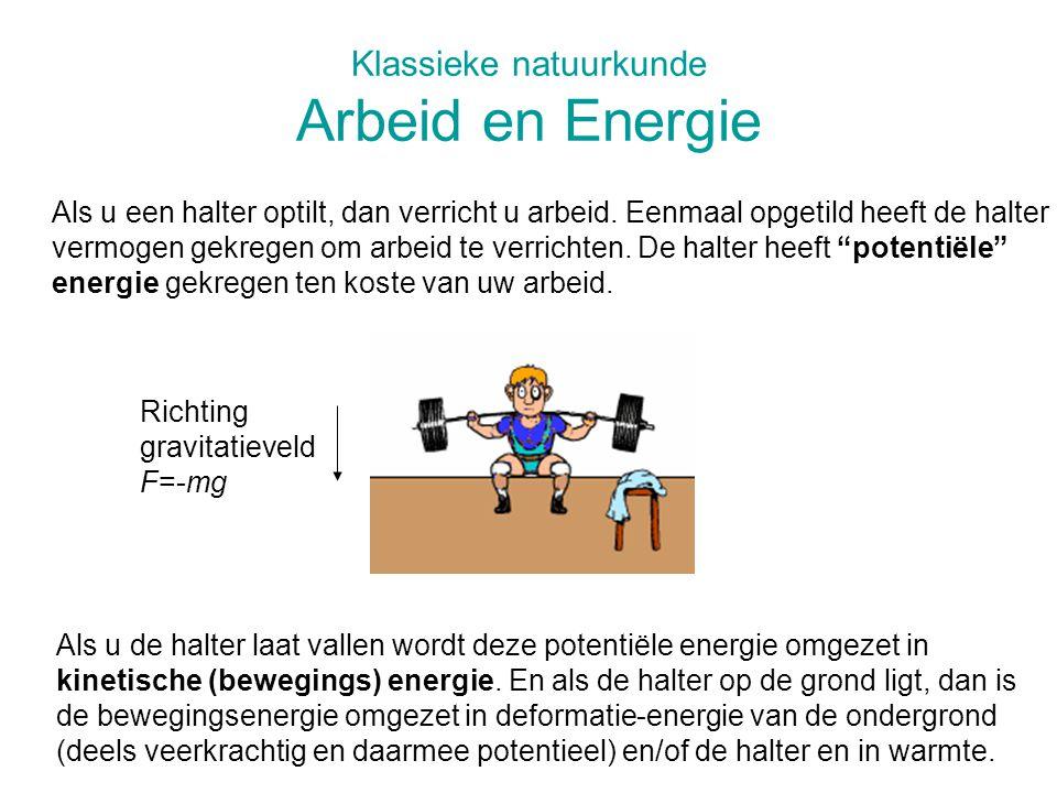 Klassieke natuurkunde Arbeid en Energie Als u een halter optilt, dan verricht u arbeid. Eenmaal opgetild heeft de halter vermogen gekregen om arbeid t