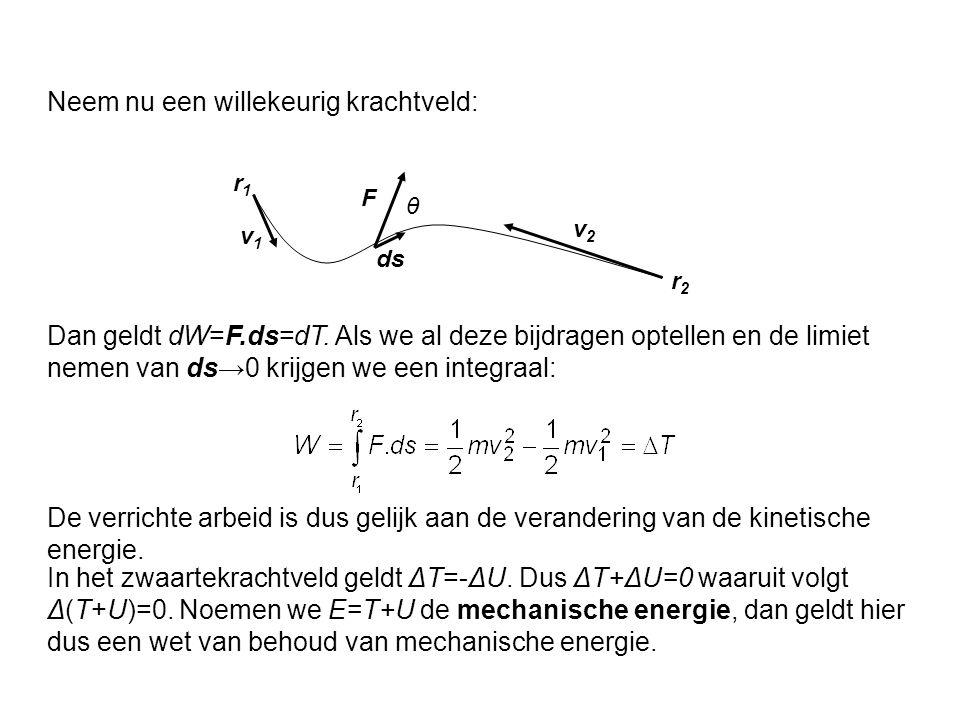 r1r1 r2r2 F v1v1 v2v2 ds θ Dan geldt dW=F.ds=dT. Als we al deze bijdragen optellen en de limiet nemen van ds→0 krijgen we een integraal: Neem nu een w