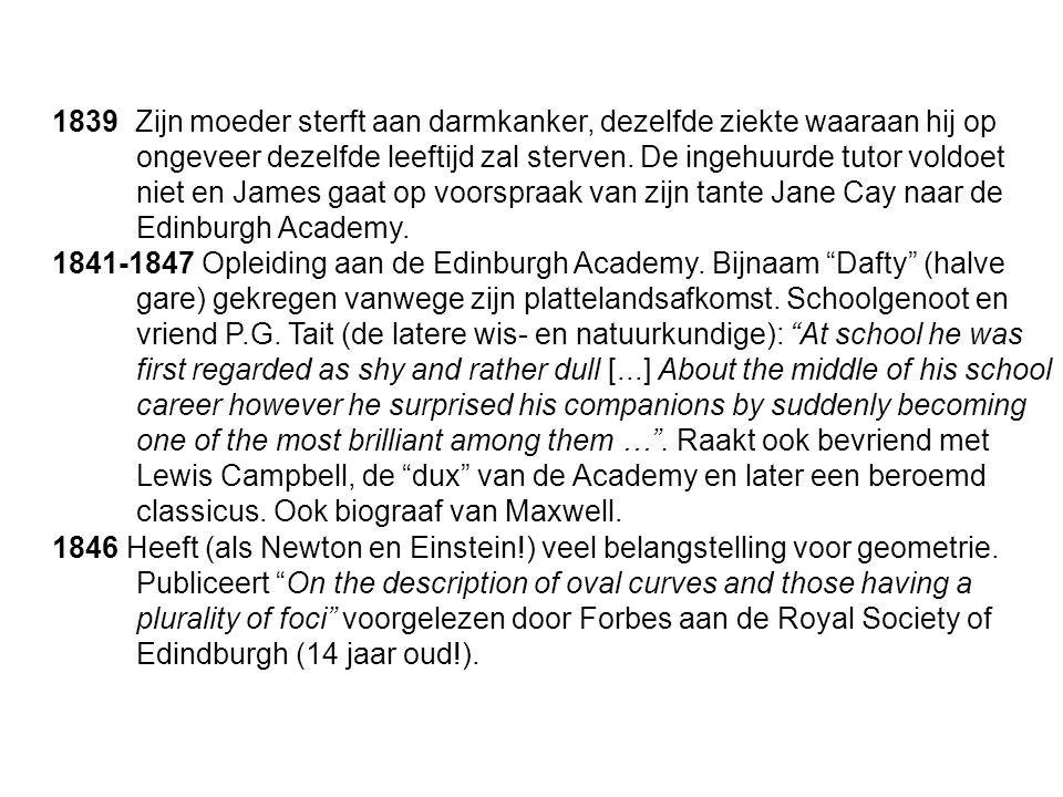 """1841-1847 Opleiding aan de Edinburgh Academy. Bijnaam """"Dafty"""" (halve gare) gekregen vanwege zijn plattelandsafkomst. Schoolgenoot en vriend P.G. Tait"""