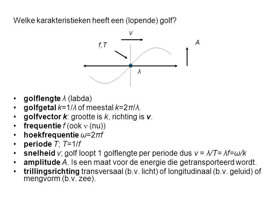 golflengte λ (labda) golfgetal k=1/λ of meestal k=2π/λ. golfvector k: grootte is k, richting is v. frequentie f (ook  (nu)) hoekfrequentie ω=2πf peri