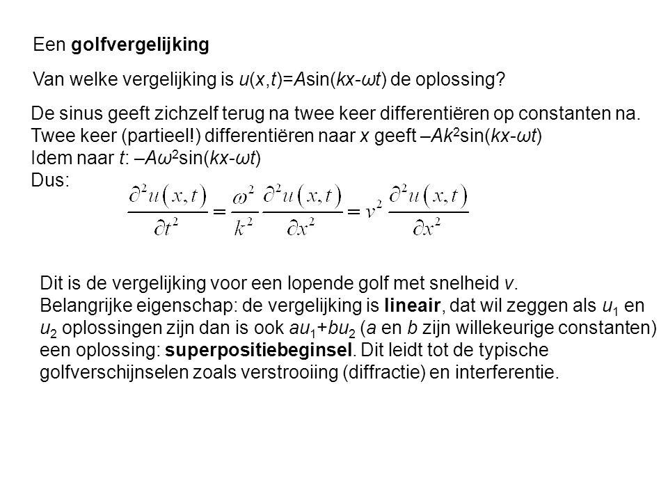Een golfvergelijking De sinus geeft zichzelf terug na twee keer differentiëren op constanten na. Twee keer (partieel!) differentiëren naar x geeft –Ak