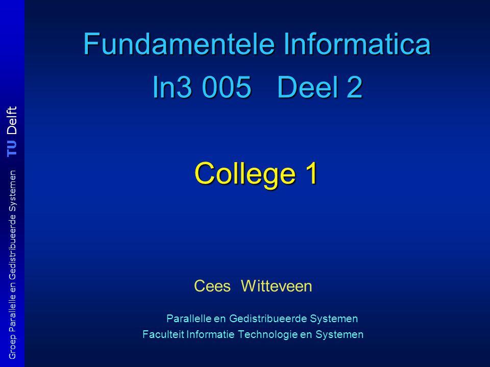 TU Delft Groep Parallelle en Gedistribueerde Systemen Fundamentele Informatica In3 005 Deel 2 College 1 Cees Witteveen Parallelle en Gedistribueerde Systemen Faculteit Informatie Technologie en Systemen