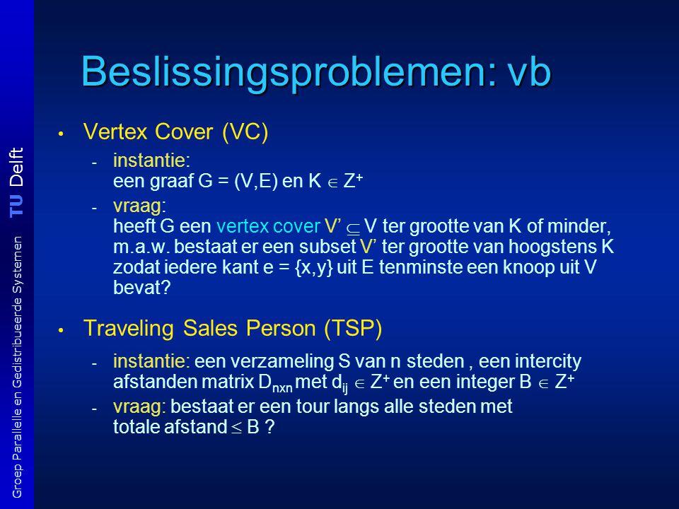 TU Delft Groep Parallelle en Gedistribueerde Systemen Beslissingsproblemen: vb Vertex Cover (VC) - instantie: een graaf G = (V,E) en K  Z + - vraag: heeft G een vertex cover V'  V ter grootte van K of minder, m.a.w.
