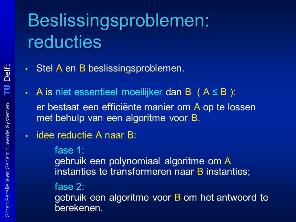 TU Delft Groep Parallelle en Gedistribueerde Systemen Beslissingsproblemen: reducties Stel A en B beslissingsproblemen. A is niet essentieel moeilijke