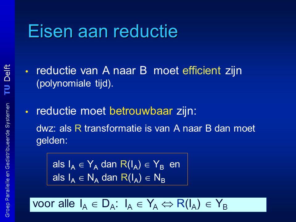 TU Delft Groep Parallelle en Gedistribueerde Systemen Eisen aan reductie reductie van A naar B moet efficient zijn (polynomiale tijd). reductie moet b