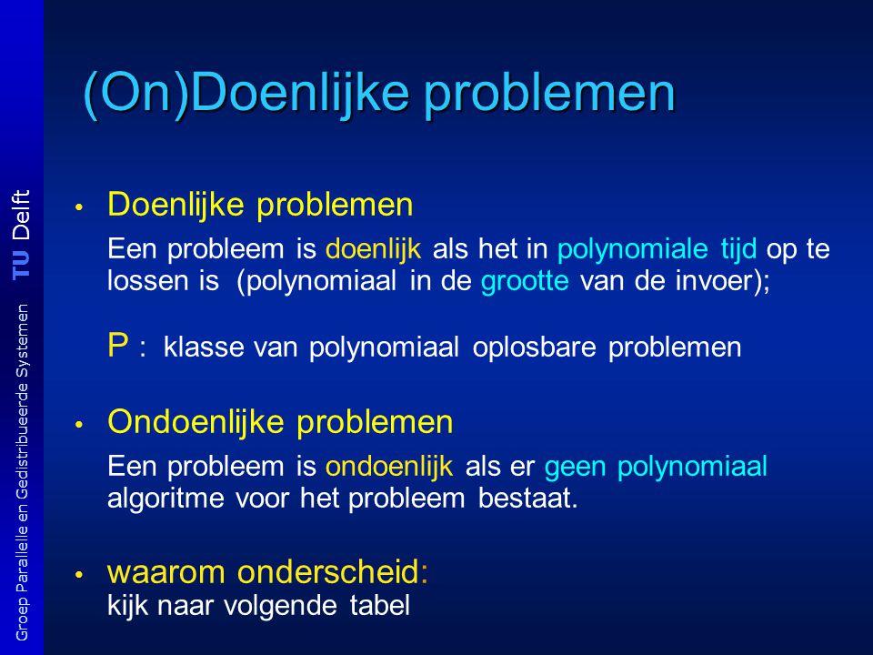 TU Delft Groep Parallelle en Gedistribueerde Systemen (On)Doenlijke problemen Doenlijke problemen Een probleem is doenlijk als het in polynomiale tijd op te lossen is (polynomiaal in de grootte van de invoer); P : klasse van polynomiaal oplosbare problemen Ondoenlijke problemen Een probleem is ondoenlijk als er geen polynomiaal algoritme voor het probleem bestaat.