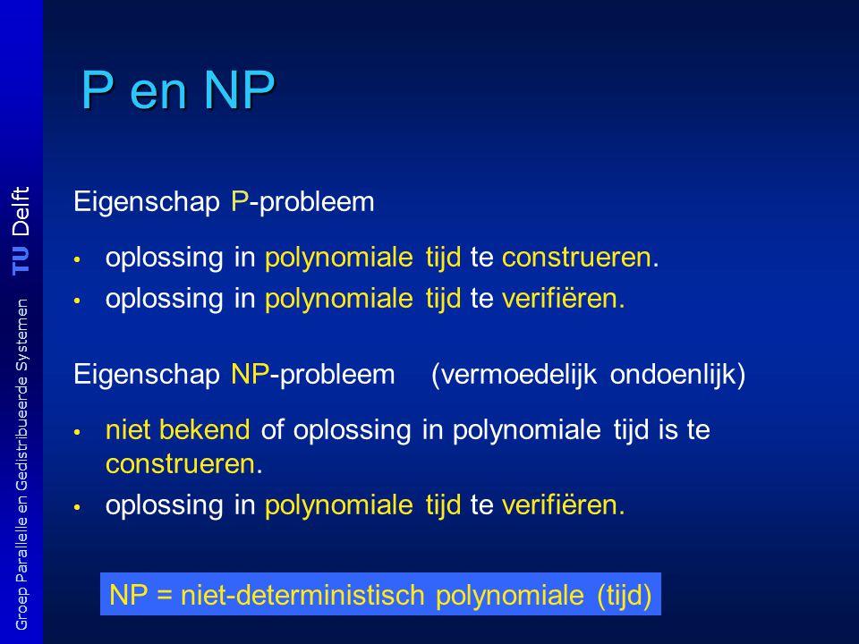 TU Delft Groep Parallelle en Gedistribueerde Systemen Vb NP-probleem Frequentietoewijzing Gegeven: - een k-tal verschillende frequenties f 1, …, f k, - een n-tal locaties l 1,l 2, …, l n van mobiele telefoons, met gegeven onderlinge afstanden d ij > 0; - een kritieke afstand D > 0.