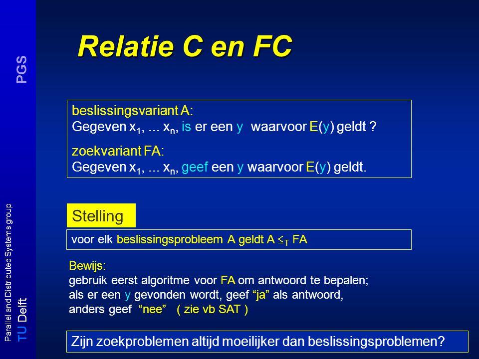 T U Delft Parallel and Distributed Systems group PGS Relatie C en FC beslissingsvariant A: Gegeven x 1,... x n, is er een y waarvoor E(y) geldt ? zoek