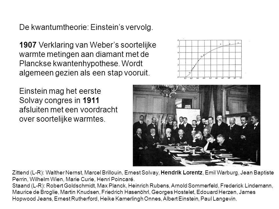 De kwantumtheorie: Einstein's vervolg. 1907 Verklaring van Weber's soortelijke warmte metingen aan diamant met de Planckse kwantenhypothese. Wordt alg