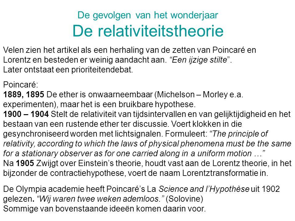 De gevolgen van het wonderjaar De relativiteitstheorie Velen zien het artikel als een herhaling van de zetten van Poincaré en Lorentz en besteden er weinig aandacht aan.