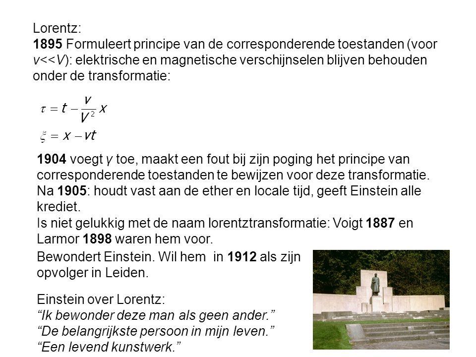 Lorentz: 1895 Formuleert principe van de corresponderende toestanden (voor v<<V): elektrische en magnetische verschijnselen blijven behouden onder de transformatie: 1904 voegt γ toe, maakt een fout bij zijn poging het principe van corresponderende toestanden te bewijzen voor deze transformatie.