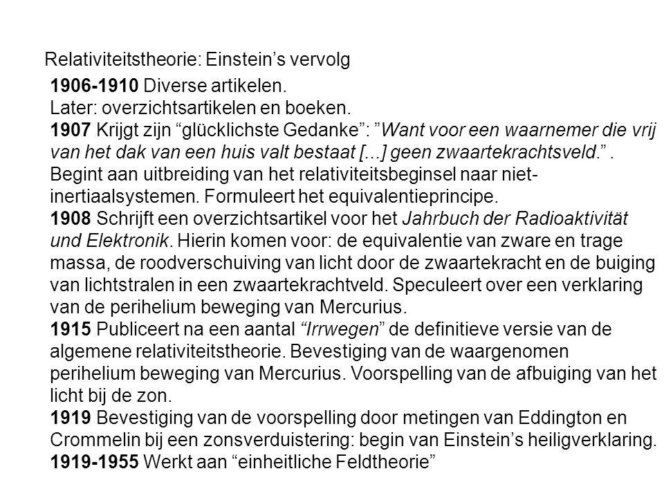 """Relativiteitstheorie: Einstein's vervolg 1906-1910 Diverse artikelen. Later: overzichtsartikelen en boeken. 1907 Krijgt zijn """"glücklichste Gedanke"""": """""""