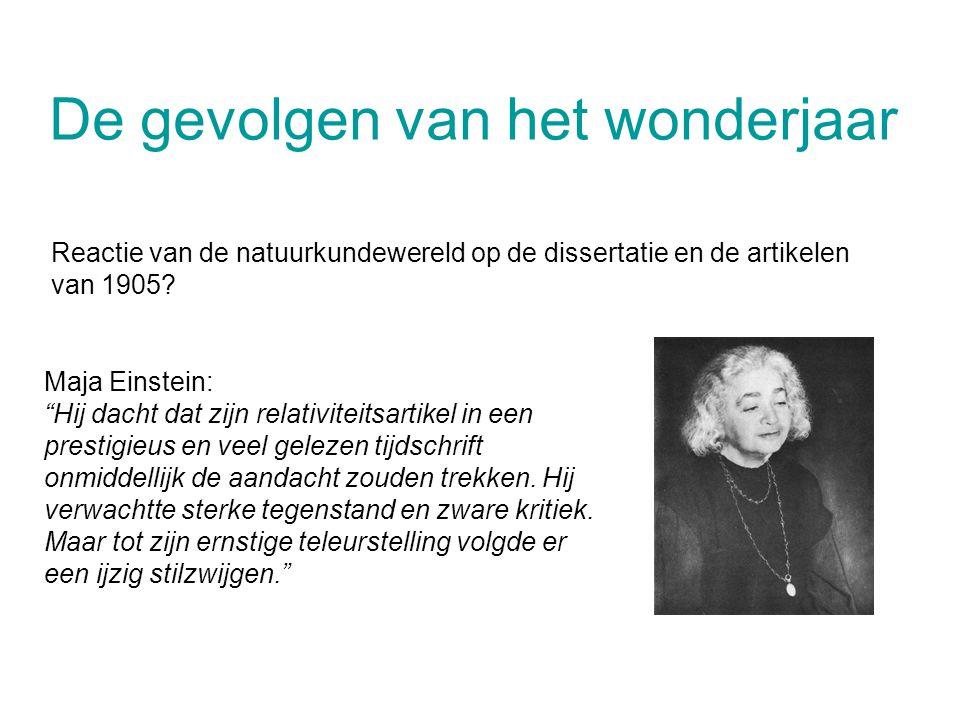 """De gevolgen van het wonderjaar Reactie van de natuurkundewereld op de dissertatie en de artikelen van 1905? Maja Einstein: """"Hij dacht dat zijn relativ"""
