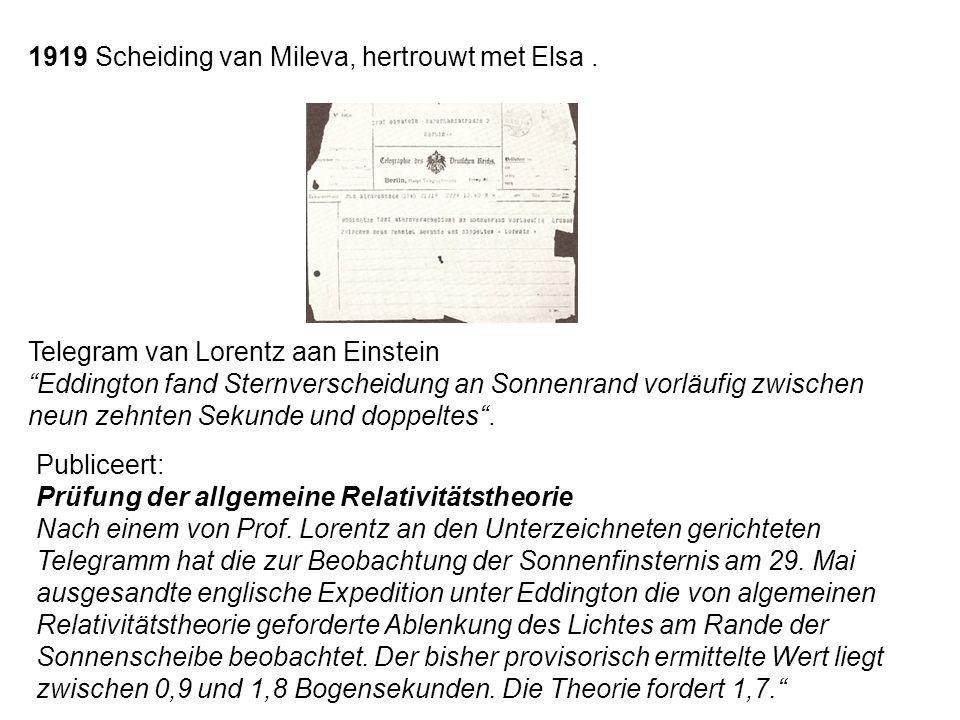 """Telegram van Lorentz aan Einstein """"Eddington fand Sternverscheidung an Sonnenrand vorläufig zwischen neun zehnten Sekunde und doppeltes"""". 1919 Scheidi"""
