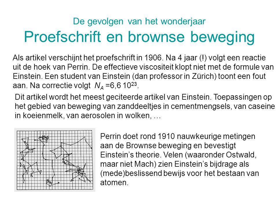 De gevolgen van het wonderjaar Proefschrift en brownse beweging Als artikel verschijnt het proefschrift in 1906. Na 4 jaar (!) volgt een reactie uit d
