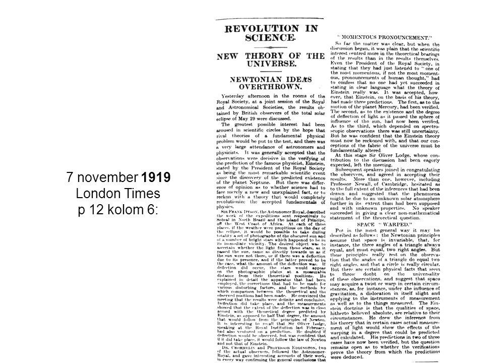 7 november 1919 London Times p 12 kolom 6: