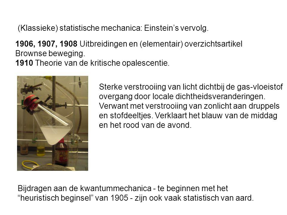 1906, 1907, 1908 Uitbreidingen en (elementair) overzichtsartikel Brownse beweging. 1910 Theorie van de kritische opalescentie. Sterke verstrooiing van