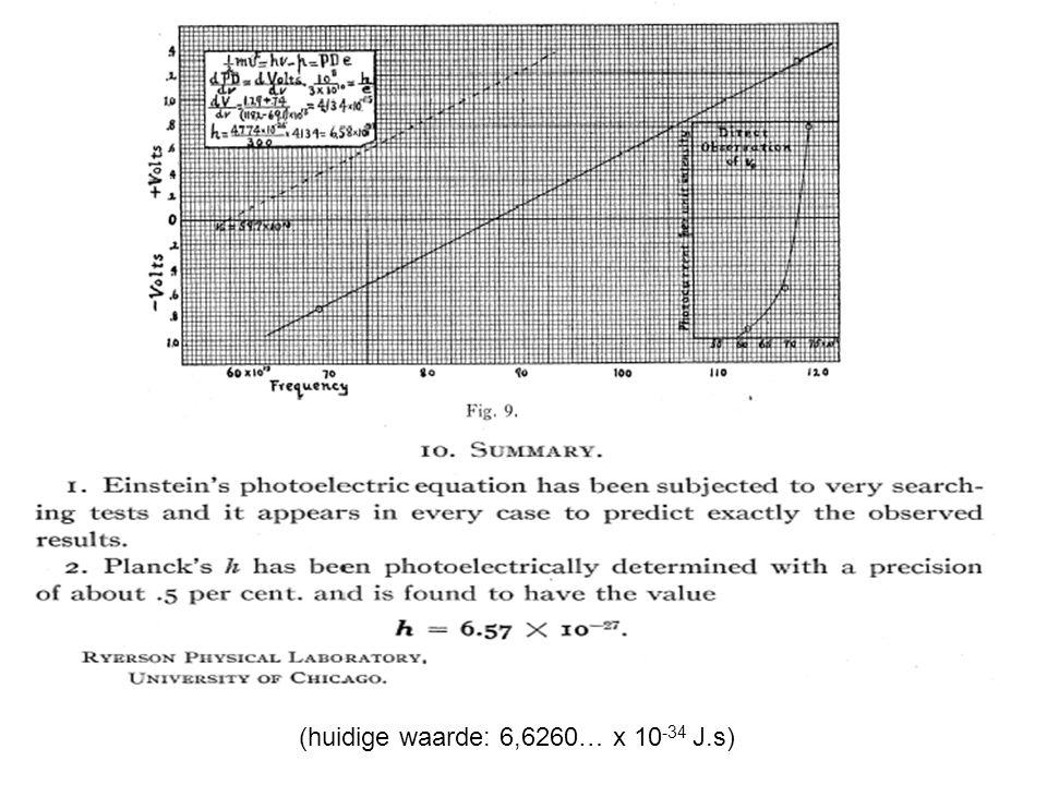 (huidige waarde: 6,6260… x 10 -34 J.s)