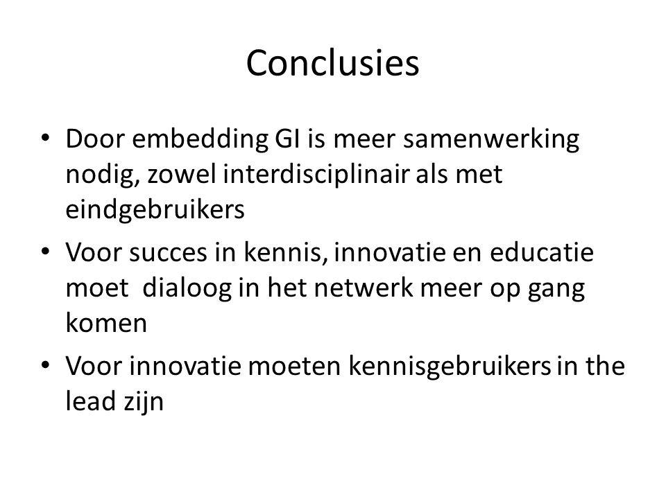 Conclusies Door embedding GI is meer samenwerking nodig, zowel interdisciplinair als met eindgebruikers Voor succes in kennis, innovatie en educatie moet dialoog in het netwerk meer op gang komen Voor innovatie moeten kennisgebruikers in the lead zijn