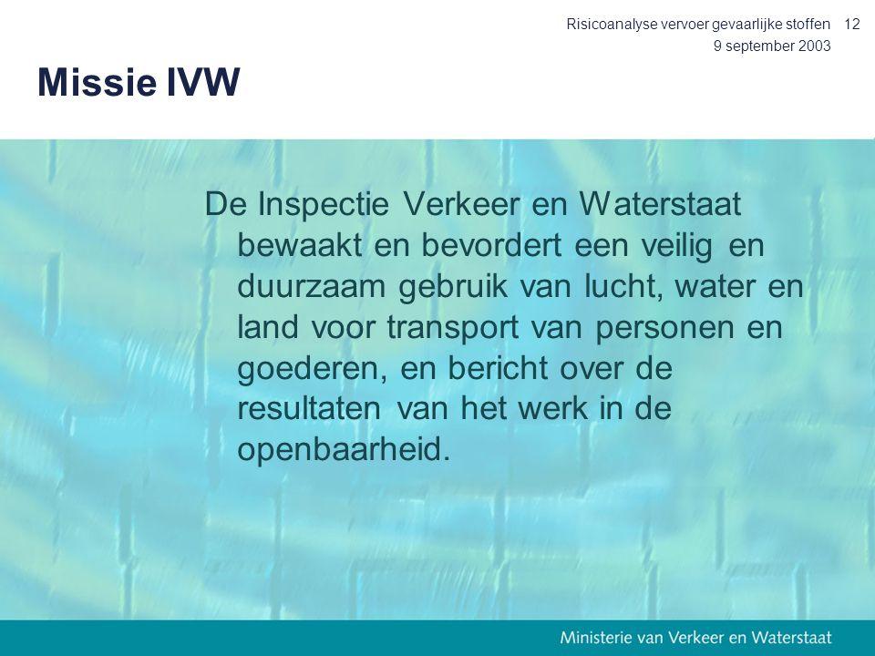 9 september 2003 Risicoanalyse vervoer gevaarlijke stoffen12 Missie IVW De Inspectie Verkeer en Waterstaat bewaakt en bevordert een veilig en duurzaam