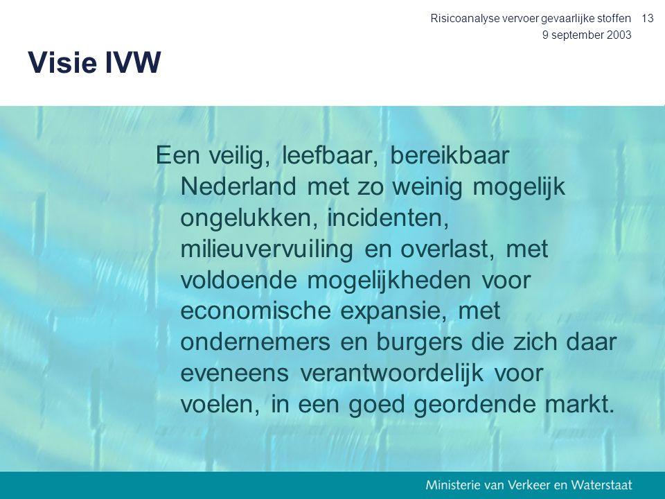 9 september 2003 Risicoanalyse vervoer gevaarlijke stoffen13 Visie IVW Een veilig, leefbaar, bereikbaar Nederland met zo weinig mogelijk ongelukken, i