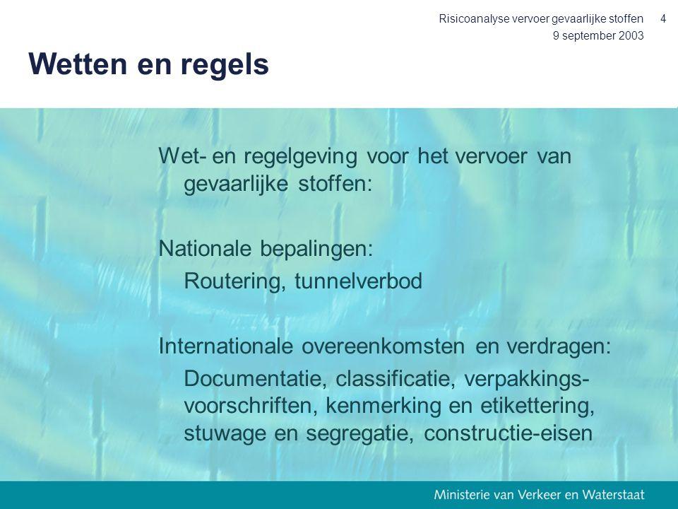9 september 2003 Risicoanalyse vervoer gevaarlijke stoffen4 Wetten en regels Wet- en regelgeving voor het vervoer van gevaarlijke stoffen: Nationale b
