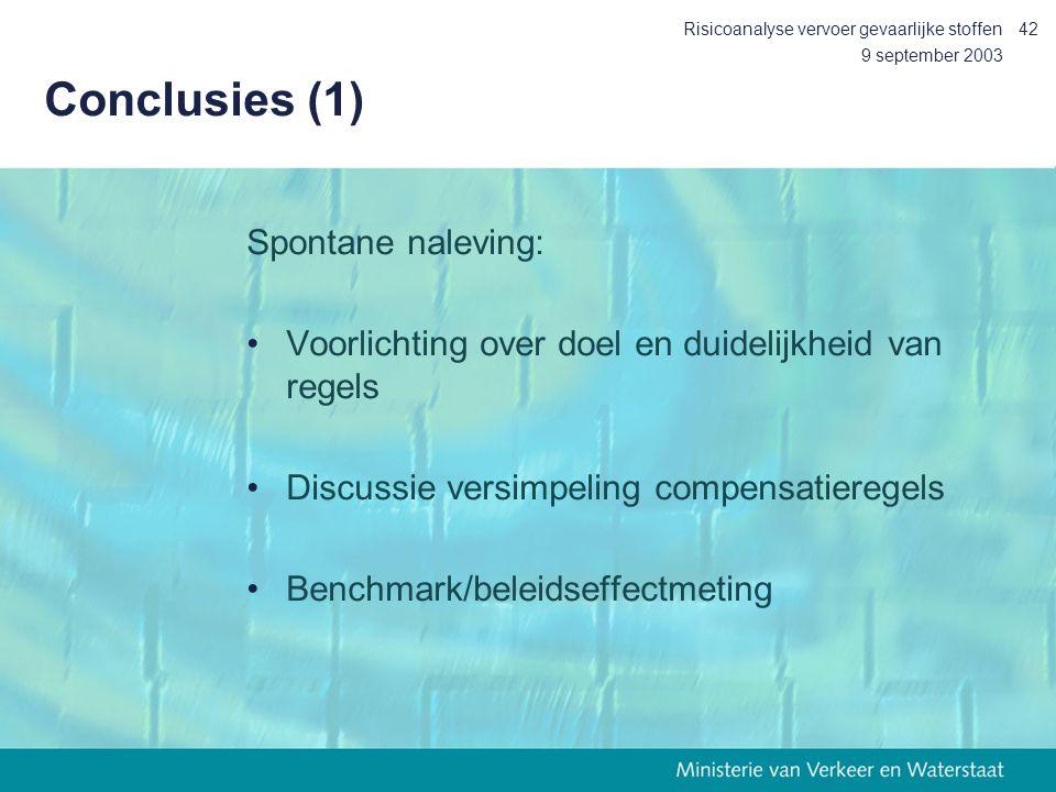 9 september 2003 Risicoanalyse vervoer gevaarlijke stoffen42 Conclusies (1) Spontane naleving: Voorlichting over doel en duidelijkheid van regels Disc
