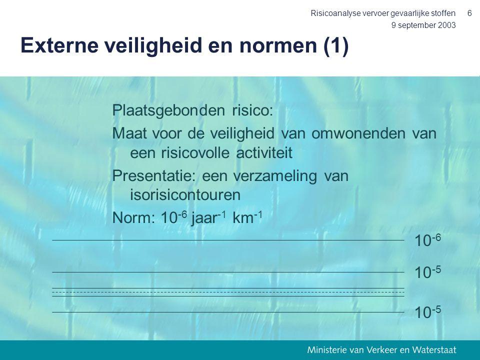 9 september 2003 Risicoanalyse vervoer gevaarlijke stoffen6 Externe veiligheid en normen (1) Plaatsgebonden risico: Maat voor de veiligheid van omwone
