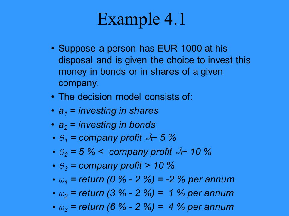 Example 4.1 Suppose a person has EUR 1000 at his disposal and is given the choice to invest this money in bonds or in shares of a given company. The d