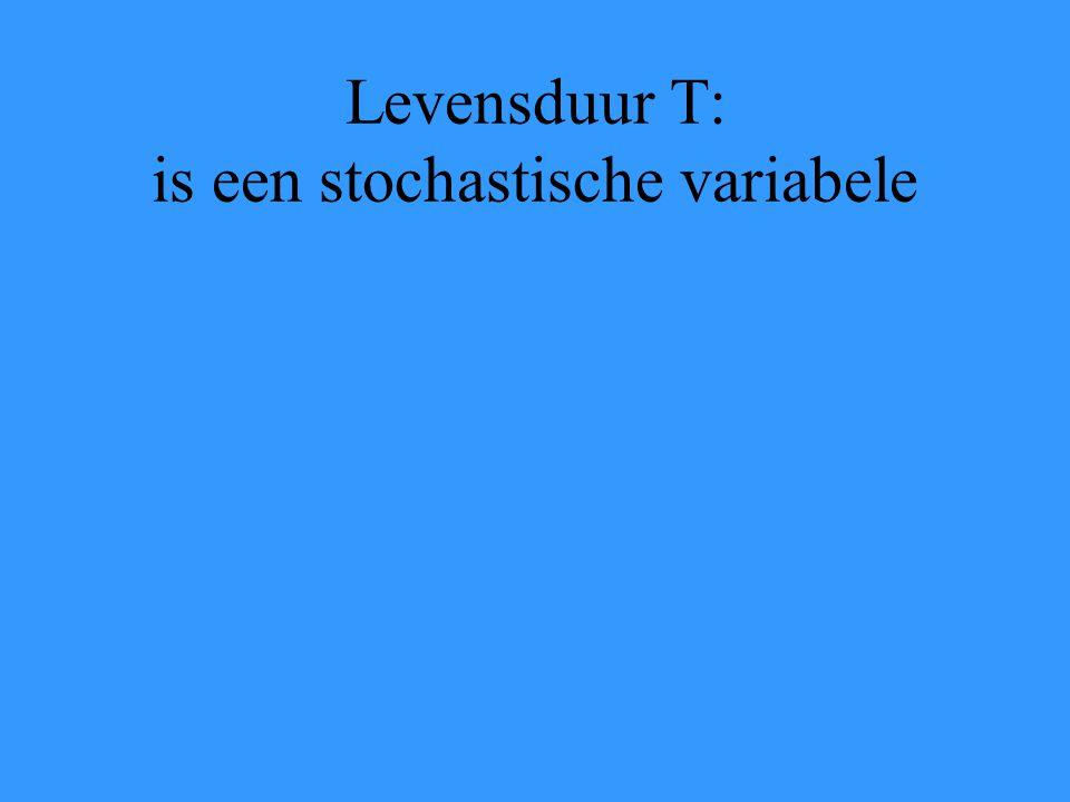 Levensduur T: is een stochastische variabele