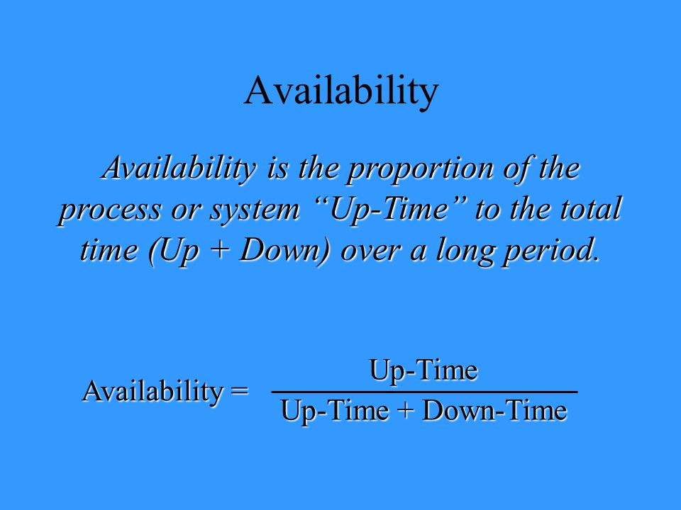 "Availability Availability is the proportion of the process or system ""Up-Time"" to the total time (Up + Down) over a long period. Availability = Up-Tim"