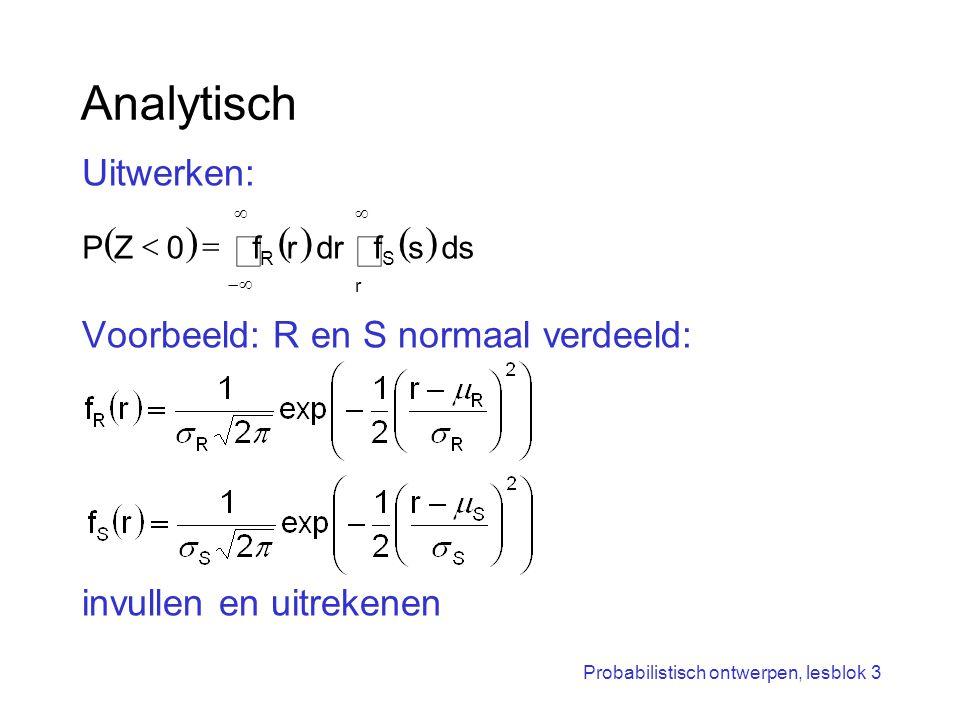 Probabilistisch ontwerpen, lesblok 3 Analytisch Uitwerken: Voorbeeld: R en S normaal verdeeld: invullen en uitrekenen       r SR dssfdrr