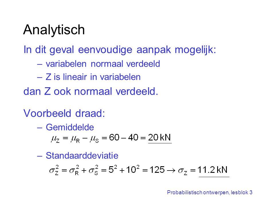 Probabilistisch ontwerpen, lesblok 3 Analytisch In dit geval eenvoudige aanpak mogelijk: –variabelen normaal verdeeld –Z is lineair in variabelen dan