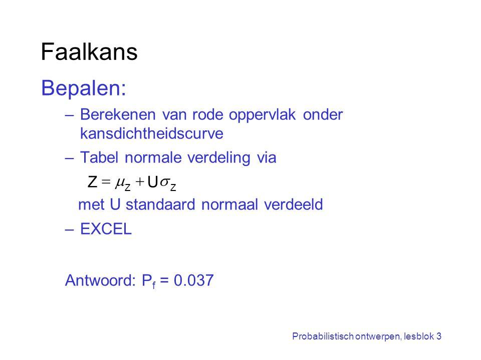 Probabilistisch ontwerpen, lesblok 3 Faalkans Bepalen: –Berekenen van rode oppervlak onder kansdichtheidscurve –Tabel normale verdeling via met U stan