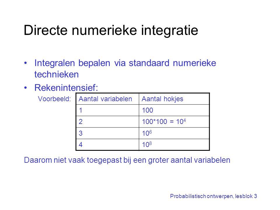 Probabilistisch ontwerpen, lesblok 3 Directe numerieke integratie Integralen bepalen via standaard numerieke technieken Rekenintensief: Voorbeeld: Daa