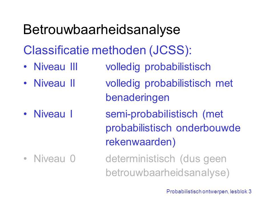 Probabilistisch ontwerpen, lesblok 3 Opzet betrouwbaarheidsanalyse Niveau III (vandaag) Niveau II (vandaag) VAP-oefenen (vandaag) Niveau I (volgende week; Sten de Wit)
