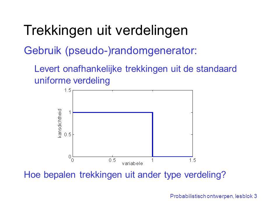 Probabilistisch ontwerpen, lesblok 3 Trekkingen uit verdelingen Gebruik (pseudo-)randomgenerator: Levert onafhankelijke trekkingen uit de standaard un