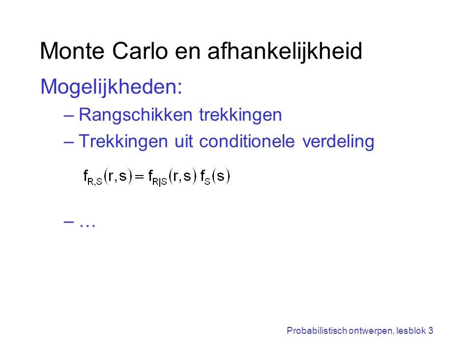 Probabilistisch ontwerpen, lesblok 3 Monte Carlo en afhankelijkheid Mogelijkheden: –Rangschikken trekkingen –Trekkingen uit conditionele verdeling –…