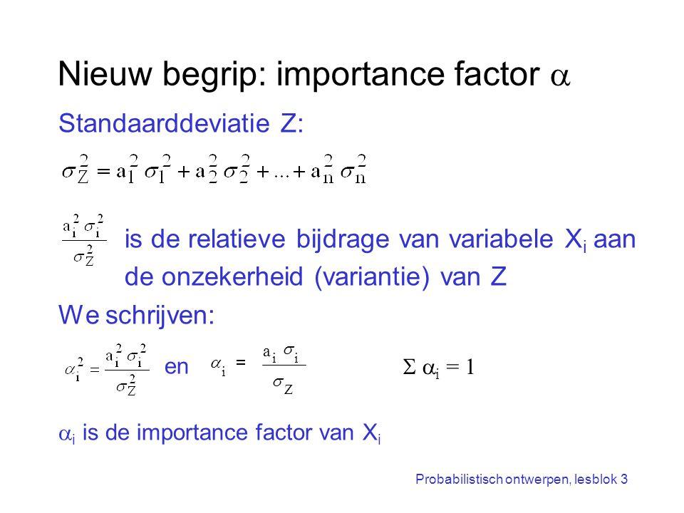 Probabilistisch ontwerpen, lesblok 3 Nieuw begrip: importance factor  Standaarddeviatie Z: is de relatieve bijdrage van variabele X i aan de onzekerh