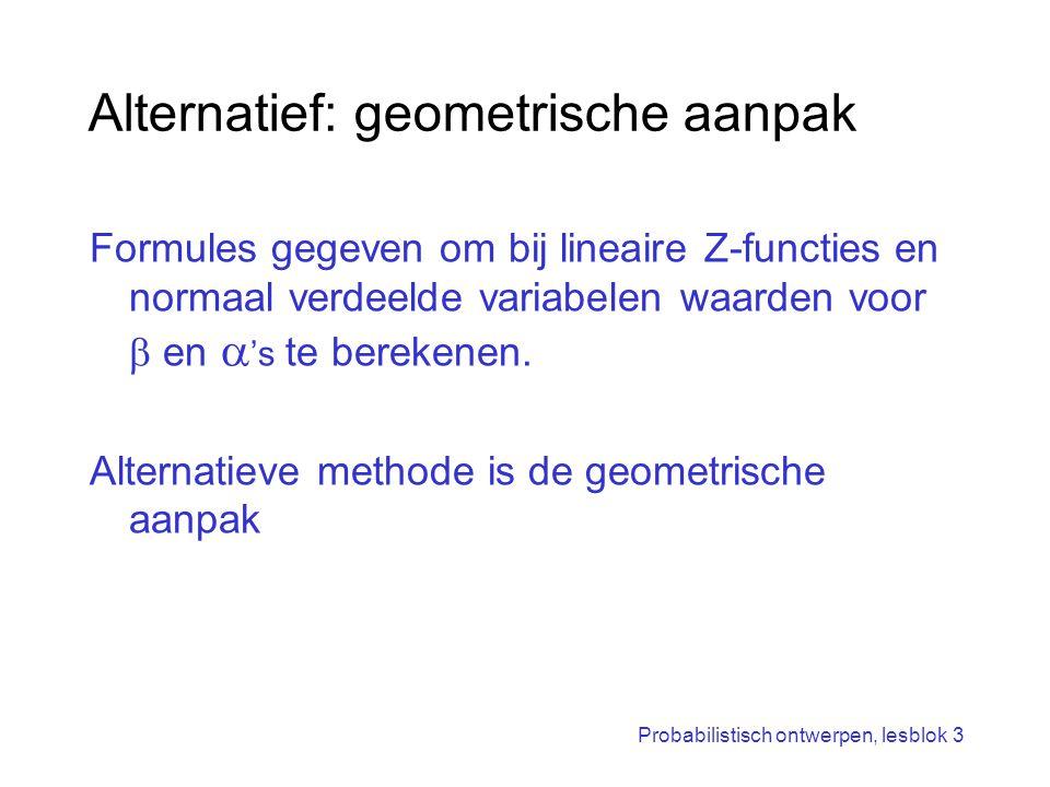 Probabilistisch ontwerpen, lesblok 3 Alternatief: geometrische aanpak Formules gegeven om bij lineaire Z-functies en normaal verdeelde variabelen waar