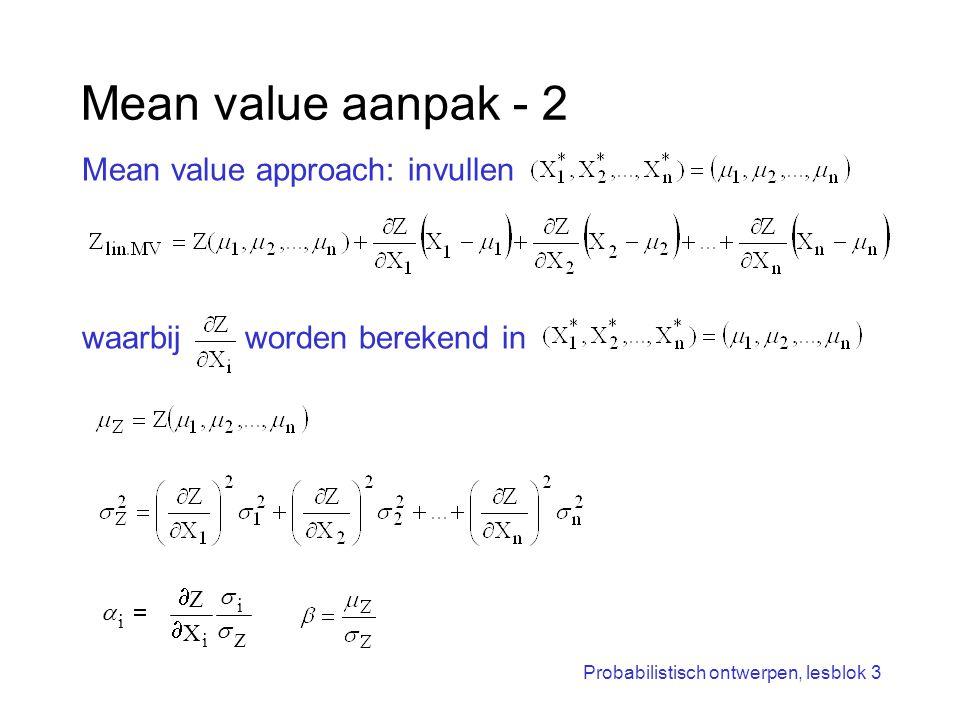 Probabilistisch ontwerpen, lesblok 3 Mean value aanpak - 2 Mean value approach: invullen waarbij worden berekend in Z i i i X Z      
