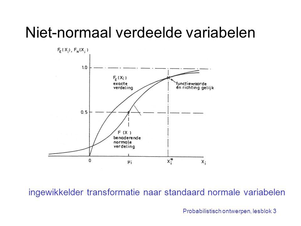 Probabilistisch ontwerpen, lesblok 3 Niet-normaal verdeelde variabelen ingewikkelder transformatie naar standaard normale variabelen