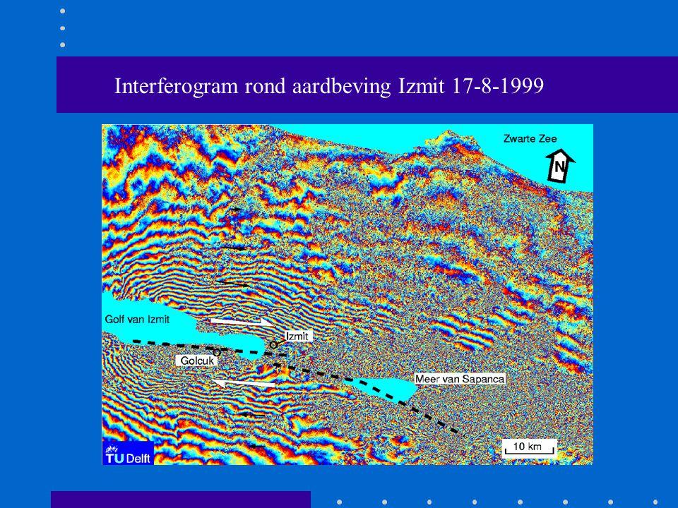 Interferogram rond aardbeving Izmit 17-8-1999