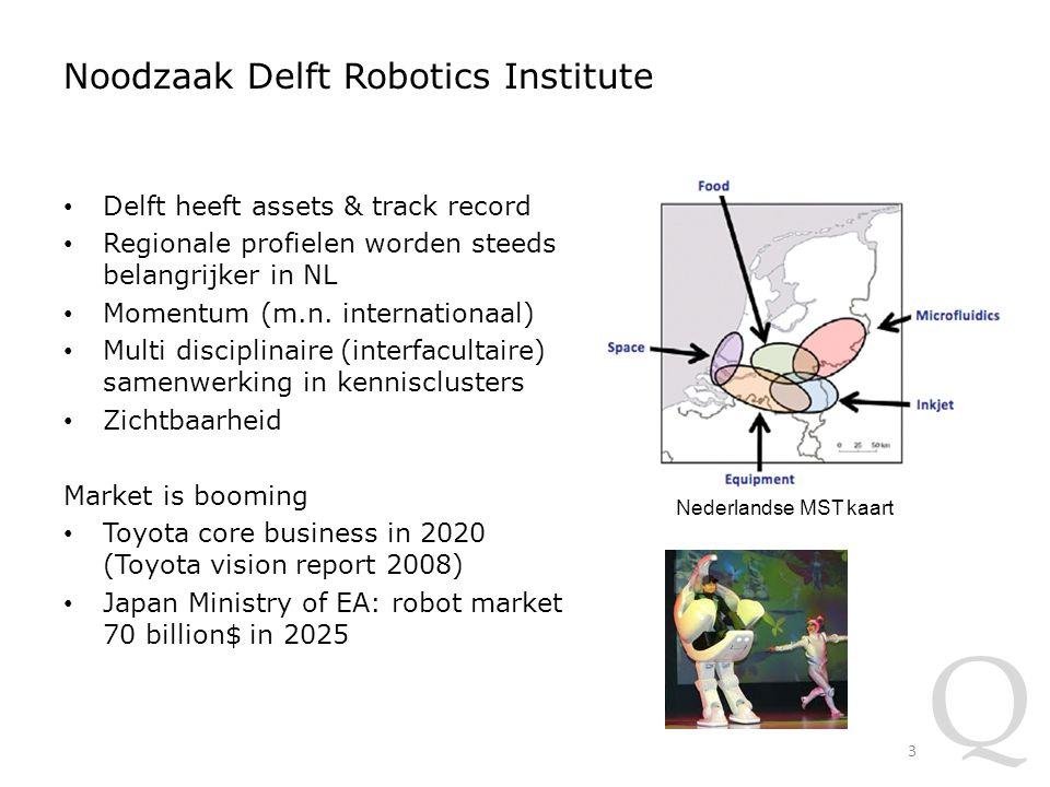 Q Noodzaak Delft Robotics Institute Delft heeft assets & track record Regionale profielen worden steeds belangrijker in NL Momentum (m.n.