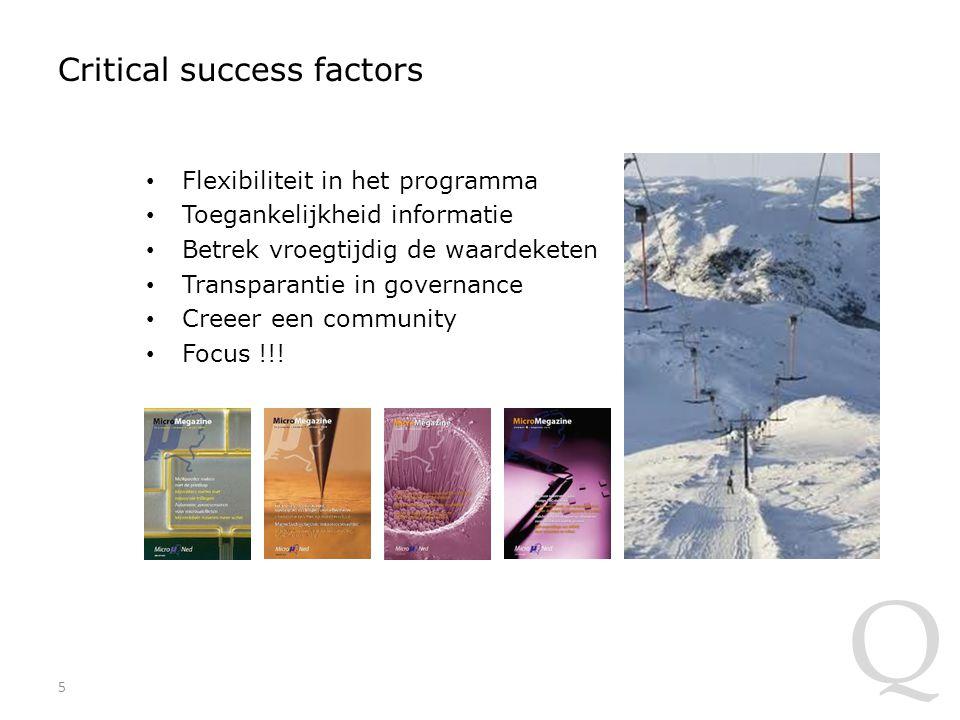 Q Critical success factors Flexibiliteit in het programma Toegankelijkheid informatie Betrek vroegtijdig de waardeketen Transparantie in governance Creeer een community Focus !!.
